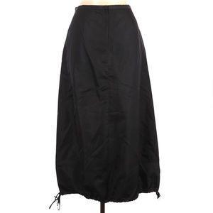 Magaschoni Black Silk Midi Skirt Drawstring Hem